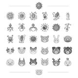 The virus, bacteria, diseaseand other web icon in monochrome style. Domestic and wild animals icons in set collection. Royalty Free Stock Photography