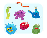 Virus and bacteria set vector illustration. Group of various type of colorful cartoon style virus Stock Photo