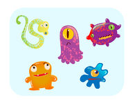 Virus and bacteria set vector illustration. Group of various type of colorful cartoon style virus Royalty Free Stock Images