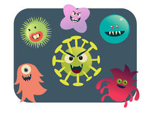 Virus and bacteria set vector illustration Stock Photo