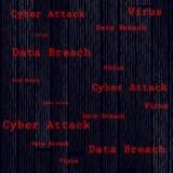 Virus binaire de balayage, infraction de données, attaque de cyber Photographie stock