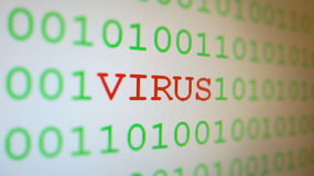 Virus on binary code  Royalty Free Stock Image