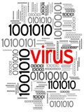 Virus in binary code. Illustration of multiple versions of binary code and the word virus in the middle in red.  Isolated on a white background Stock Photo