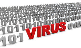 Virus in binary code Stock Photos