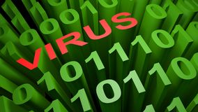 VIRUS in the binary code - 3D rendering. VIRUS is written in red letters among the green zeros and ones of the binary code of the low level computer language Royalty Free Stock Photos