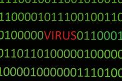Virus on binary data Royalty Free Stock Image