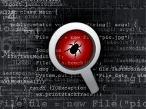 Virus bug in program code. Illustration royalty free stock image