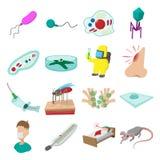 Virus cartoon icons set Stock Photo