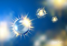 Virus cell bubbles over blue bokeh background. royalty free illustration