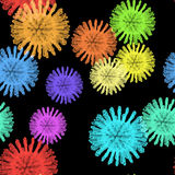 Virus cells or bacteria on green background vector Royalty Free Stock Images