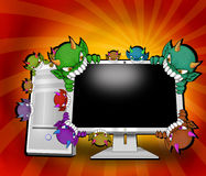 Virus che attacano calcolatore illustrazione di stock
