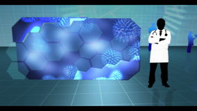 Virus che colpisce le cellule su fondo medico blu illustrazione di stock