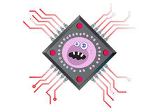 Virus Computer Chip Illustration Stock Image