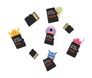 Virus computer eating micro SD memory card Royalty Free Stock Photo