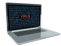 Virus on computer. Isolated white Stock Image