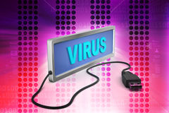 Virus with connecting cable Royalty Free Stock Photography