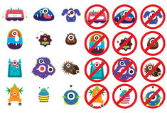 Virus cute lock set Royalty Free Stock Images