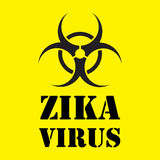 Virus d'avertissement de zika sur le fond jaune Photo stock