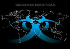 Virus danger. Editable vector illustration of World map with virus sign in blue color Royalty Free Stock Photography