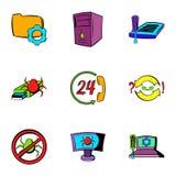 Virus danger icons set, cartoon style. Virus danger icons set. Cartoon illustration of 9 virus danger vector icons for web Royalty Free Stock Photos