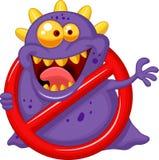 Virus de la parada de la historieta - virus púrpura en muestra de la alerta roja Fotografía de archivo libre de regalías