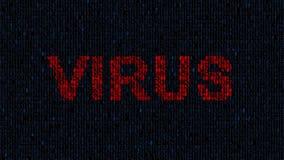 Virus de ordenador en la red Fondo alerta del virus, concepto de la seguridad metrajes
