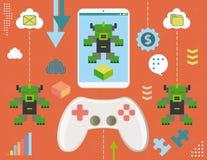 Virus del videojuego en smartphone Imagenes de archivo