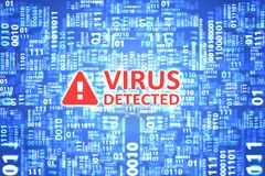 Virus detected alert on computer screen. Royalty Free Stock Photo