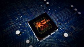 CPU on board with virus detected hologram