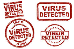 Virus detected ink stamp set Royalty Free Stock Photography