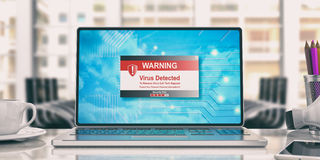 Virus detected message on laptop in an office. 3d illustration. Virus detected message on the computer screen. 3d illustration Stock Photography