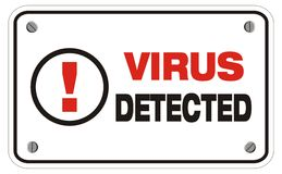 Virus detected rectangle sign. Suitable for alert sign Royalty Free Stock Images