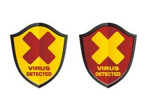 Virus detected - shield signs Stock Image