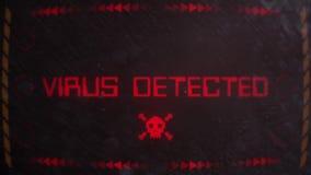 Virus Detected Warning Alert Signaling on an Old Monitor