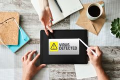 Virus Detected warning message on screen. Cyber security breach. Data protection internet and technology concept. royalty free stock photo
