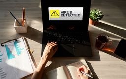 Virus Detected warning message on screen. Cyber security breach. Data protection internet and technology concept. royalty free stock photography