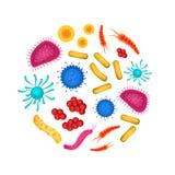 Virus dettagliato realistico 3d e modello rotondo di progettazione dei batteri Vettore illustrazione vettoriale