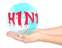 Virus di influenza dei maiali in mani Immagine Stock