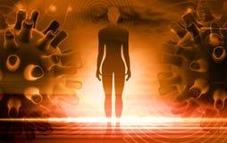 Virus di simplex di erpete con il corpo umano illustrazione vettoriale