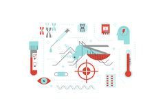 Virus or disease transmitted by mosquito illustration concept. With flat design icons Royalty Free Stock Photos