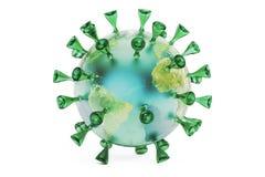 Virus-Erde, Wiedergabe 3D Stockfotografie