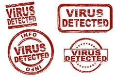 Virus ermittelte Tintenstempelsatz stock abbildung