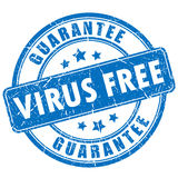 Virus free guarantee rubber stamp Stock Images