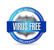 Virus free seal or shield illustration design Stock Images