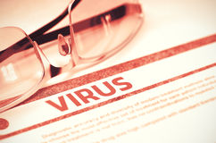 Virus - Gedrukte Diagnose MEDISCH concept 3D Illustratie Stock Foto's