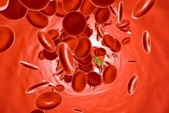 Virus generico che galleggia nella circolazione sanguigna illustrazione di stock