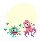 Virus, germ, bacteria characters with human faces and sharp teeth. Set of ugly virus, germ and bacteria characters, cartoon vector illustration with space for vector illustration