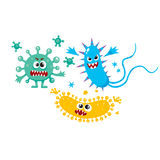 Virus, germ, bacteria characters with human faces and sharp teeth. Set of ugly virus, germ and bacteria characters, cartoon vector illustration on white royalty free illustration