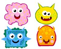 VIRUS GERMS 02. Four germs with funny cartoon style Stock Photo
