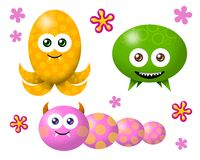 VIRUS GERMS 03. Three germs, monsters with funny cartoon style Royalty Free Stock Photo
